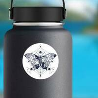 Butterfly Double Exposure Hippie Sticker on a Water Bottle example