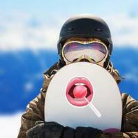Realistic Shiny Lips With Red Lollipop Sticker on a Snowboard example