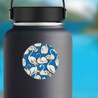 Summer Lake With Hand Drawn Swan Birds Pattern Sticker example
