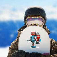 Retro Robot With Jetpack Sticker on a Snowboard example