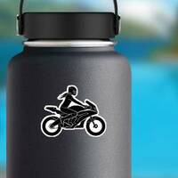 Woman on Motorcycle Silhouette Sticker on a Water Bottle example