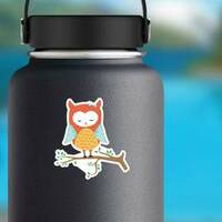 Cute Colorful Sleeping Owl Sticker on a Water Bottle example