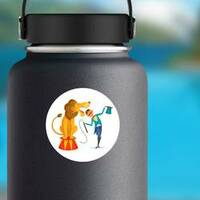 Circus Trainer With Lion Sticker on a Water Bottle example
