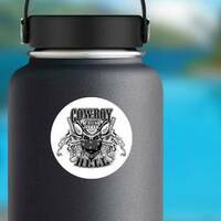 Cowboy From Hell Sticker on a Water Bottle example