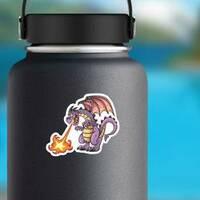 Fire Breathing Purple Dragon Sticker on a Water Bottle example