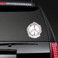Boho Feather and Arrow Hippie Peace Sign Sticker on a Rear Car Window example