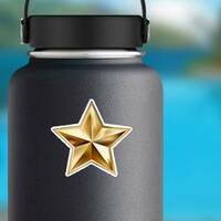 Gold Star Badge Sticker on a Water Bottle example