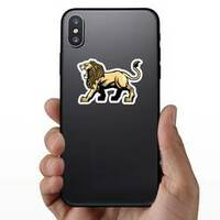 Angry Roaring Lion Mascot Sticker on a Phone example
