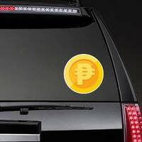 Philippines Peso Gold Coin Sticker on a Rear Car Window example