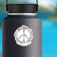 Boho Feather and Arrow Hippie Peace Sign Sticker on a Water Bottle example