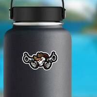 Skull Cowboy Aiming Guns Sticker on a Water Bottle example