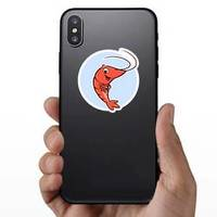 Illustration Of A Cute Shrimp In Circle Sticker