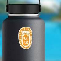 Fun Cartoon Lion Head Roar Sticker on a Water Bottle example