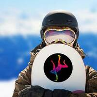 Colorful Graffiti Street Dancer On Hand Sticker on a Snowboard example