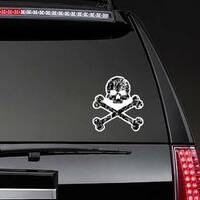 Tattered Skull and Bones Pirate Sticker on a Rear Car Window example
