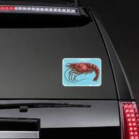 Hand Drawn Shrimp On Blue Sticker
