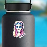 Watercolor Hippie Girl Sticker on a Water Bottle example