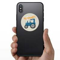 Cute Tractor Illustration For Kids Sticker example
