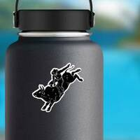 Bull Rider Black Sticker on a Water Bottle example