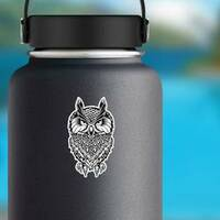 Wise Old Owl Illustration Sticker on a Water Bottle example