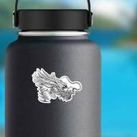 Hand Drawn Style Chinese Dragon Sticker on a Water Bottle example