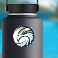 Circle Eagle Logo Sticker on a Water Bottle example