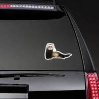 Grey Ferret In Full Growth Lies Down Sticker