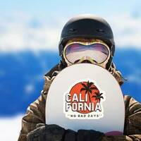 California No Bad Days Sticker on a Snowboard example