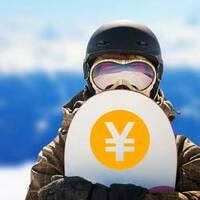 Circle Japanese Yen Sticker on a Snowboard example