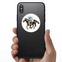 Watercolor Derby Horse Sticker on a Phone example