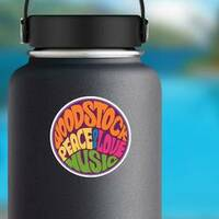 Woodstock Hippie Circle Sticker on a Water Bottle example