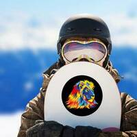Lion With Bright Colors Sticker on a Snowboard example