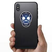 Decorative Ornamental Sugar Skull Silhouette Sticker on a Phone example