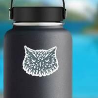 Owl Head Sticker on a Water Bottle example