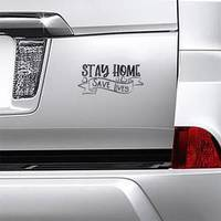 Stay Home Save Lives Ribbon Sticker