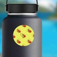 Doodle Shrimp Sea Food Bright Color Sticker