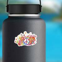 Psychedelic Paisley Hippie Sticker on a Water Bottle example