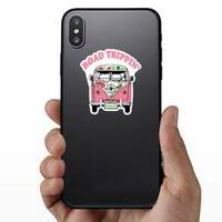 Road Trippin Pink Hippie Van Sticker on a Phone example