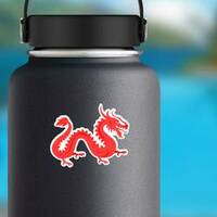 Chinese Red Dragon Sticker on a Water Bottle example