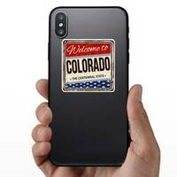 Welcome To Colorado Vintage Sticker on a Phone example