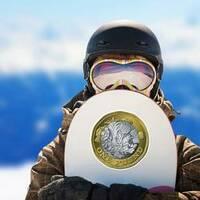 British One Pound Sticker on a Snowboard example