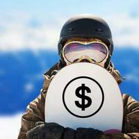 Dollar Sign Symbol Sticker on a Snowboard example