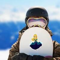Cute Little Princess Cartoon Sticker on a Snowboard example
