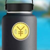 Illustrated Japanese Yen Sticker on a Water Bottle example