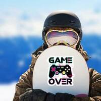Game Over Joypad Console Controller Sticker on a Snowboard example