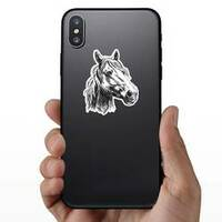 Horse Head Sketch Sticker on a Phone example