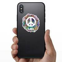 Decorative Hippie Love Peace Sticker on a Phone example