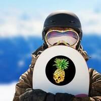 Pineapple Skull Sticker on a Snowboard example