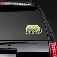 Colorful Hippie Van Sticker on a Rear Car Window example