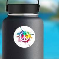 Paint Splatter Peace Sign Hippie Sticker on a Water Bottle example